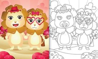 coloring book for kids with a cute lion couple themed valentine day