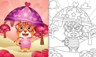 libro para colorear para niños con un lindo tigre sosteniendo un paraguas con el tema del día de san valentín