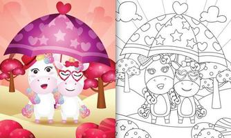 coloring book for kids with a cute unicorn couple holding umbrella themed valentine day vector