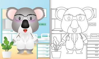 libro para colorear para niños con una linda ilustración de personaje de doctor koala vector