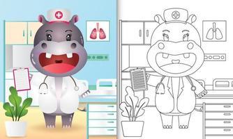 libro para colorear para niños con una linda ilustración de personaje de enfermera hipopótamo vector