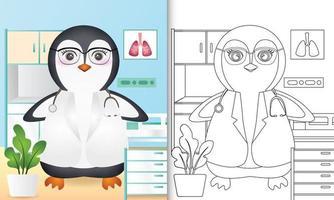 libro para colorear para niños con una linda ilustración de personaje de doctor pingüino vector