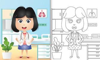 libro para colorear para niños con una linda niña ilustración de personaje médico vector