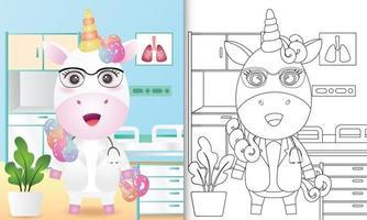libro para colorear para niños con una linda ilustración de personaje de doctor unicornio vector