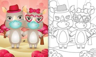 coloring book for kids with Cute valentine's day rhino couple using protective face mask vector