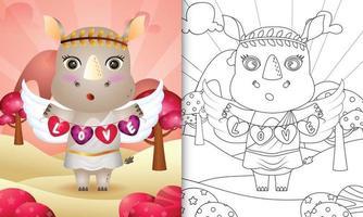 libro para colorear para niños con un lindo ángel rinoceronte usando un disfraz de cupido sosteniendo una bandera en forma de corazón vector