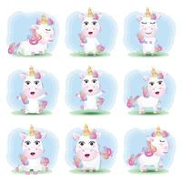 linda colección de unicornios al estilo infantil vector