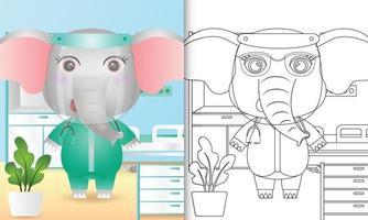 libro para colorear para niños con una linda ilustración de personaje de elefante usando el traje del equipo médico vector