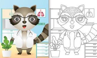 libro para colorear para niños con una linda ilustración de personaje de doctor mapache vector