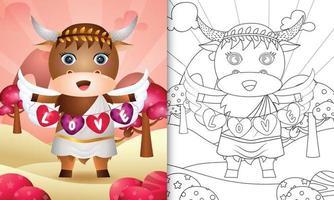 libro para colorear para niños con un lindo ángel búfalo usando un disfraz de cupido sosteniendo una bandera en forma de corazón vector