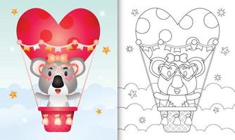 coloring book for kids with a cute koala female on hot air balloon love themed valentine day vector