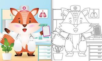 libro para colorear para niños con una linda ilustración de personaje de enfermera zorro vector