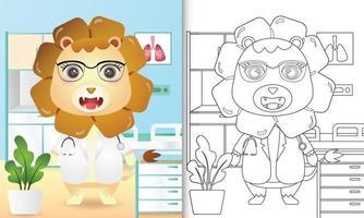 libro para colorear para niños con una linda ilustración de personaje de doctor león vector