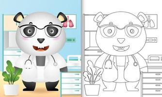 libro para colorear para niños con una linda ilustración de personaje de doctor panda vector