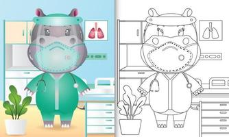 libro para colorear para niños con una linda ilustración de personaje de hipopótamo usando el traje del equipo médico vector
