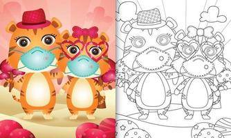 coloring book for kids with Cute valentine's day tiger couple using protective face mask vector