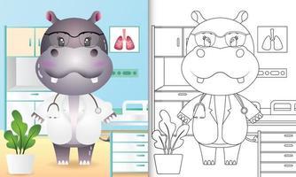 libro para colorear para niños con una linda ilustración de personaje médico hipopótamo vector