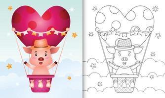 libro para colorear para niños con un lindo cerdo macho en globo aerostático con tema de amor día de san valentín vector