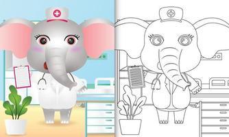libro para colorear para niños con una linda ilustración de personaje de enfermera elefante vector