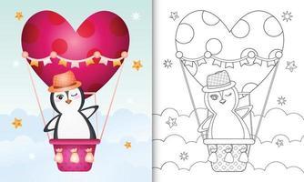 libro para colorear para niños con un lindo pingüino macho en globo aerostático con tema de amor día de san valentín vector