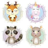 Set of cute animals cartoon in twigs, the character of cute deer, unicorn, raccoon and rhino vector