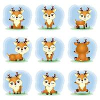 cute deers collection in the children's style vector