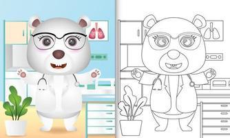 libro para colorear para niños con una linda ilustración de personaje de doctor oso polar vector