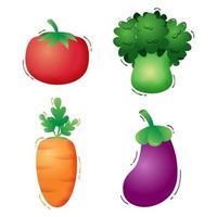 colección de verduras tomate, brócoli, zanahoria y berenjena. ilustración vectorial
