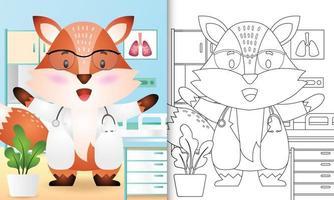libro para colorear para niños con una linda ilustración de personaje de doctor zorro vector