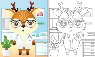 libro para colorear para niños con una linda ilustración de personaje de doctor ciervo vector