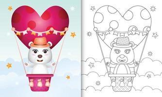 libro para colorear para niños con un lindo oso polar macho en globo aerostático con tema de amor día de san valentín