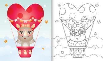 libro para colorear para niños con una linda hembra de rinoceronte en globo aerostático con tema de amor día de san valentín vector