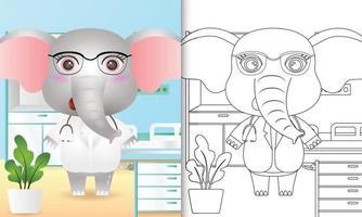 libro para colorear para niños con una linda ilustración de personaje de doctor elefante vector