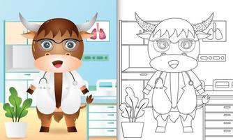 libro para colorear para niños con una linda ilustración de personaje de doctor búfalo vector