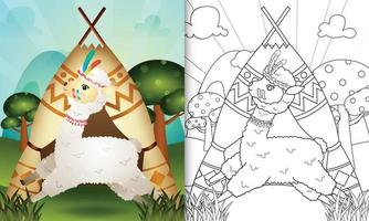 coloring book for kids with a cute tribal boho alpaca character illustration vector