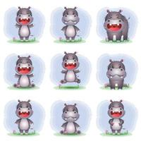 Cute hippo collection in the children's style vector