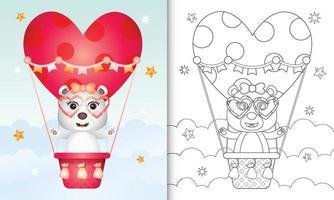 libro para colorear para niños con una linda hembra de oso polar en globo aerostático con tema de amor día de san valentín vector