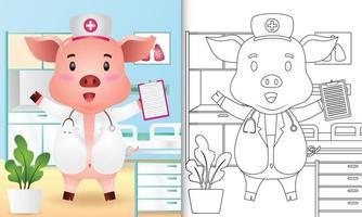 libro para colorear para niños con una linda ilustración de personaje de enfermera de cerdo vector