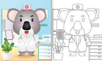 libro para colorear para niños con una linda ilustración de personaje de enfermera koala vector