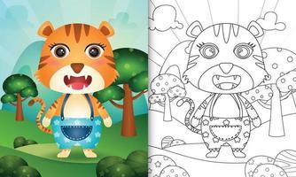 libro para colorear para niños con una linda ilustración de personaje de tigre