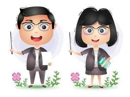a Cute teacher couple character cartoon vector