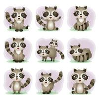 Cute racoons collection in the children's style vector