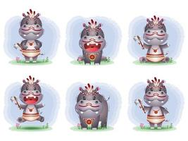 cute hippos collection with apache costume vector