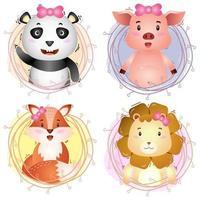 lindos animales con ramitas panda, cerdo, zorro y león vector
