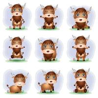 Cute buffalo collection in the children's style vector