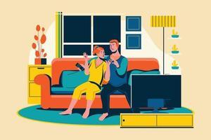 Una pareja joven relajándose viendo la televisión en la sala de estar. vector