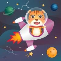 A cute tiger in the space galaxy vector