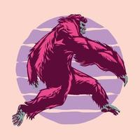 Walking Bigfoot or Sasquatch vector illustration in full color