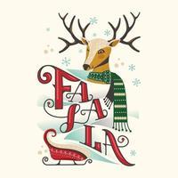 cabeza de reno feliz con bufanda y trineo de navidad vector