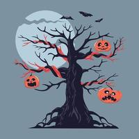 Illustration of a bare spooky scary Halloween tree vector